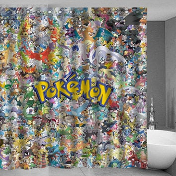 Pokemon all Characters Shower Curtain