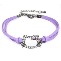 Cute Kitty Head Charm Leather Strand Bracelet with Pink Crystal Bowknot (Purple)
