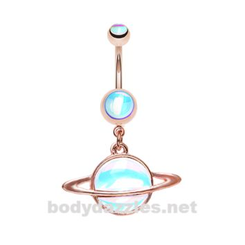 Rose Gold Saturn Planet Revo Belly Button Ring Stainless Steel Body Jewelry