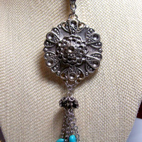 Antique Silver Medallion with Turquoise Color Beaded Tassel, OOAK Long Antique Silver Necklace Intricate Medallion Chain & Turquoise Tassel