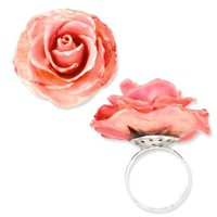 Lacquer Dipped Pink Real Rose Adjustable Ring