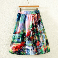 Vintage Courtyard Print Pleated Midi Skirt