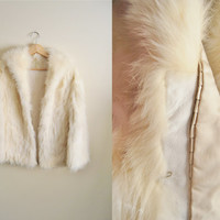 Winter Fox - Vintage 80s Cream Fluffy Fox Real Fur Coat Jacket