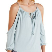 Sage Extreme Cold Shoulder Peasant Top by Charlotte Russe