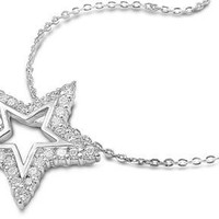 CZ and Sterling Silver Star Necklace
