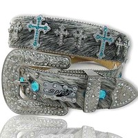 AQUA GLIMMER CROSS White Brindle Western Belt SPurchase