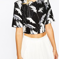 Whistles Pampus Print Cropped Linen Mix Top