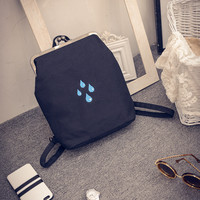 Back To School College Stylish Hot Deal On Sale Comfort Casual Winter Canvas Bags One Shoulder Embroidery Water Droplets Backpack [6582268615]