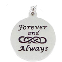 Stainless Steel Charm Forever and Always Double Infinity