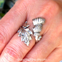 Thistle Ring, Adjustable Long Stem Leaf Ring, Sterling Silver ring, Thistle flower jewelry, not spoon ring, R-115