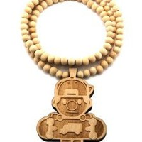 """New Good Wood Natural Trukfit Lil Tommy Pendant w/8mm 36"""" Wooden Bead Necklace WJ207NL: Jewelry: Amazon.com"""