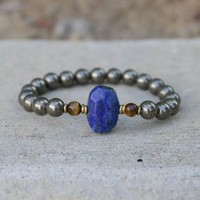 Strength and Intuition - Pyrite and Lapis Lazuli Bracelet