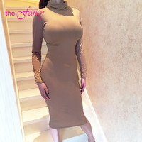 REAL PHOTO Nude White Bodycon Pencil Dress Midi Long Sleeve Turtleneck High Neck Cotton Plus Size Sexy Club Party Summer 2016