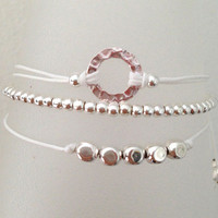 Triple Silver Friendship Bracelet with Adjustable Cord in White