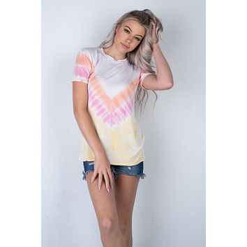 Coral Pink and Yellow Tie Dye Short Sleeve Top