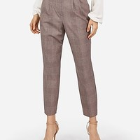High Waisted Plaid Button Tab Pull-On Ankle Pant