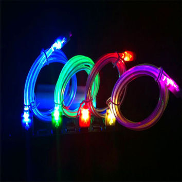 Extreme Light Up LED Crystal USB Data Sync Charger Cable For Android Phone LS