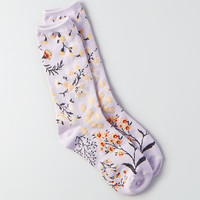 AEO Floral Crew Socks, Purple