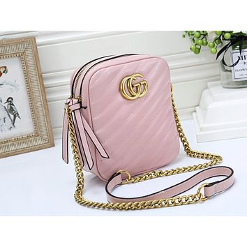 GUCCI hot selling lady casual shoulder bag fashionable pure color zigzag line shopping bag #1