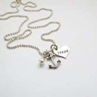 Personalized Necklace with Heart, Anchor and Pearl - Heart Necklace - Mother - Couples - Friend - Grandma - Nana -Engraved - Custom