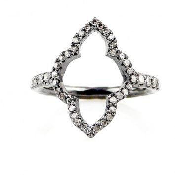 Champagne Pave Diamond Moroccan Arch Frame Ring - Everyday Diamonds - Shop
