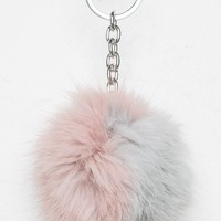 GREY AND PINK FUR BALL KEYCHAIN