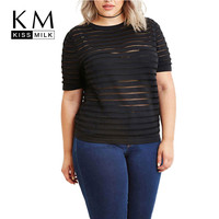 Kissmilk Women Plus Size Big Size 3XL 4XL 5XL 6XL Casual Slim Club Tees Fashion Sexy Sheer Short Sleeve Striped Basic T-shirt