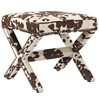 Rivet Upholstered Fabric Bench Cowhide EEI-2325-COW
