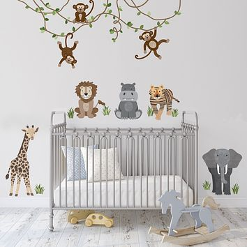 Safari Animals and Monkey Wall Decals, Jungle Animal Wall Stickers, Nursery Wall Decals, Peel and Stick Repositionable Fabric Decals
