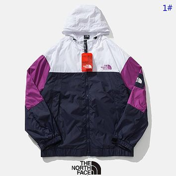 The North Face New fashion embroidery letter print couple contrast color hooded long sleeve coat windbreaker 1#