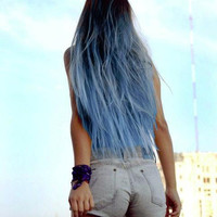 "Sky Blue Ombre Hair Extensions, Blue Dip Dye Hair, Dark Brown Ombre, Black Hair Dip Dyed with Blue//(7) Pieces//16""/Customize your Base"