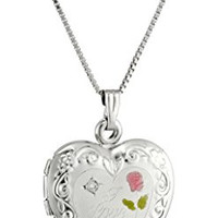"Sterling Silver Diamond Engraved with ""I Love You"" Heart Locket Necklace"