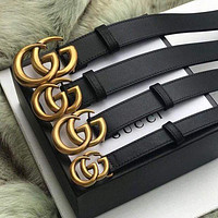 Bunchsun GUCCI  Fashion Smooth Pearl GG Letter Men Woman Buckle Leather Belt