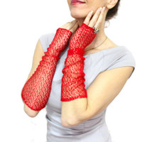 Red long lace gloves, Shiny gold red lace fingerless gloves mittens cuff, Steampunk gloves, Bellows Glove