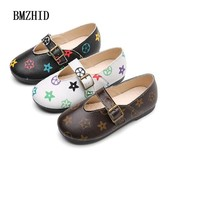 Fashion Girls Doodle Flat Leather Shoes 2018 New Children Casual Leather Shoes for Girls Toddler shoes Kids leather shoes girl