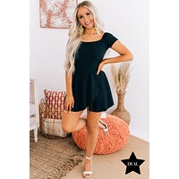 One Call Away Fit And Flare Off The Shoulder Romper (Black)