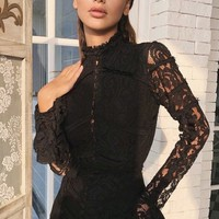 Last Time Sheer Lace Long Flare Sleeve Mock Neck Button Front Bandage Bodycon Fishtail Mermaid Maxi Dress - 2 Colors Available - Sold Out