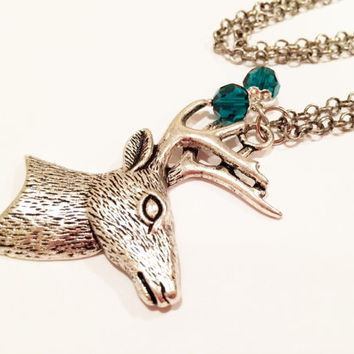Silver Deer Head Necklace, Teal Crystals