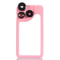 Pink KKMOON 4-in-1 Phone Photo Lens 180 Fisheye 120 Wide Angle 2X Telephoto 2X Macro Set with Case for iPhone 6 Plus 6S Plus