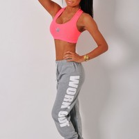 Lively Grey 'Work Out' Print Lounge Pants | Pink Boutique