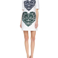 Women's Lace-Heart Shift Dress, White/Black - Stella McCartney - Pure white (42/8)