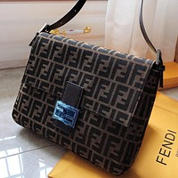 F Fendi Fashion New More Letter Canvas Shoulder Bag Handbag