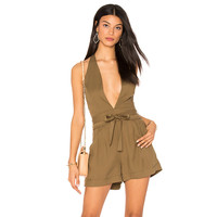 Fashion Halter Deep V Sleeveless Backless Solid Color Shorts Romper Jumpsuit