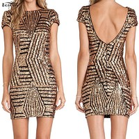 Gold stripe Sequins Backless Bodycon Dress