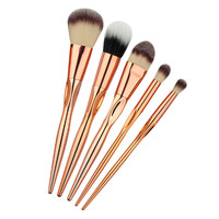 5pcs Large Soft Makeup Brushes Set Powder Foundation Eyeshadow Concealer Eyeliner Lip Brush Cosmetic Tool Rose Gold Color Handle