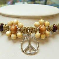 Peace Sign and Daisies Hemp Choker Long Anklet  Necklace hippie NEW