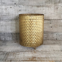 Wastebasket Cover Brass Trashcan Sleeve Hollywood Regency Wastebasket Mid Century Stylebuilt Accessories Vintage Glam Brass Umbrella Holder