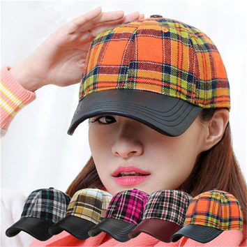 Fashion Plaid Snapback Adjustable Outdoor Lady Hat