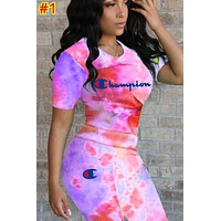 Champion tide brand women's gradient letter printing short sleeve sports suit two-piece #1