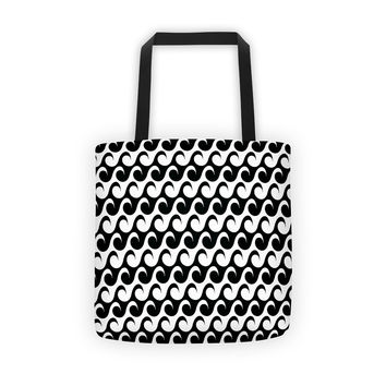 Black and White Wave Tote bag